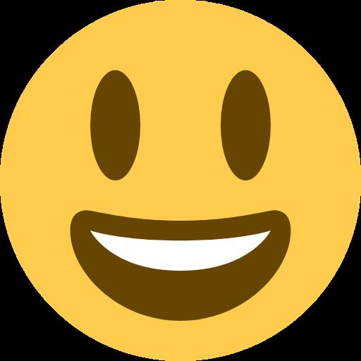 Emoji Rosto sorridente com olhos grandes